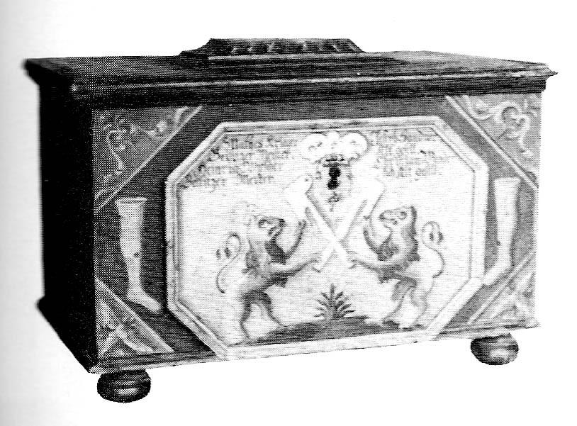 Die Lade der Strumpfwirkerzunft von Fleißen. Der letzte Zunftmeister war Franz Karl Stübiger