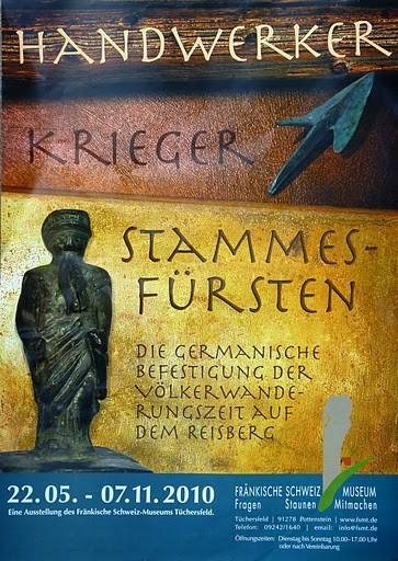 Plakat der Sonderausstellung des Fränkische-Schweiz-Museums Tüchersfeld über die Funde auf dem Reisberg und ihre Auswertung