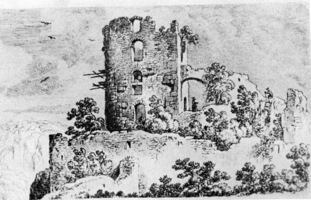 Federzeichnung von Johann Adam Klein 1811. Zu dieser Zeit standen noch Reste eines Anschlußgebäudes mit Übergang zum Wohnturm