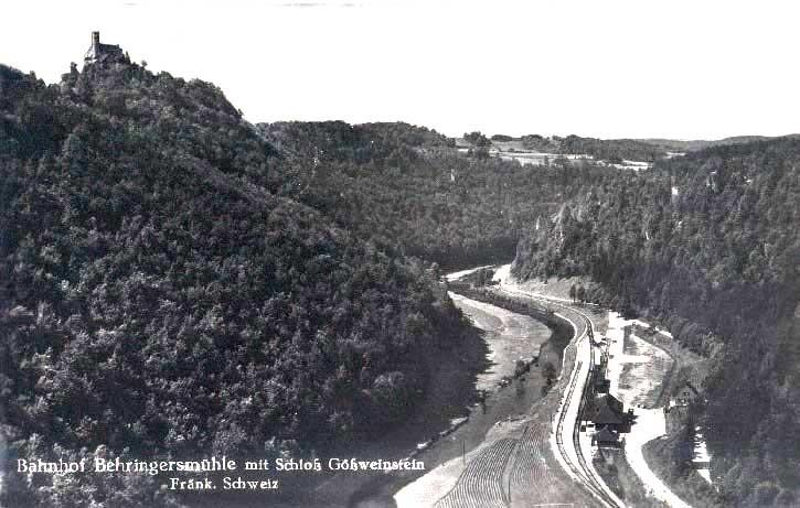 Das Wiesenttal mit der Bahnlinie auf einer zeitgenössischen Ansichtskarte
