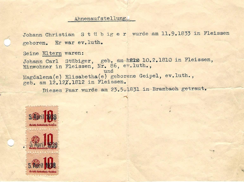 Bis 1983 besaßen wir nur diesen Abstammungsnachweis - und den noch folgenden...
