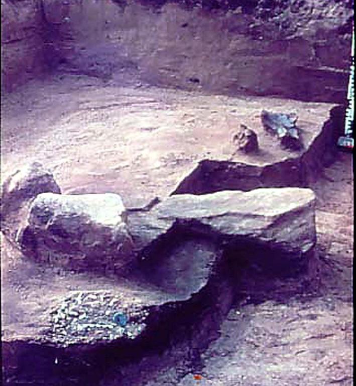 Planum mit den beiden Grabresten und einer Steinsetzung. Im Hintergrund Urnenboden. Im Vordergrund Brandschüttung mit Bronzeartefakt