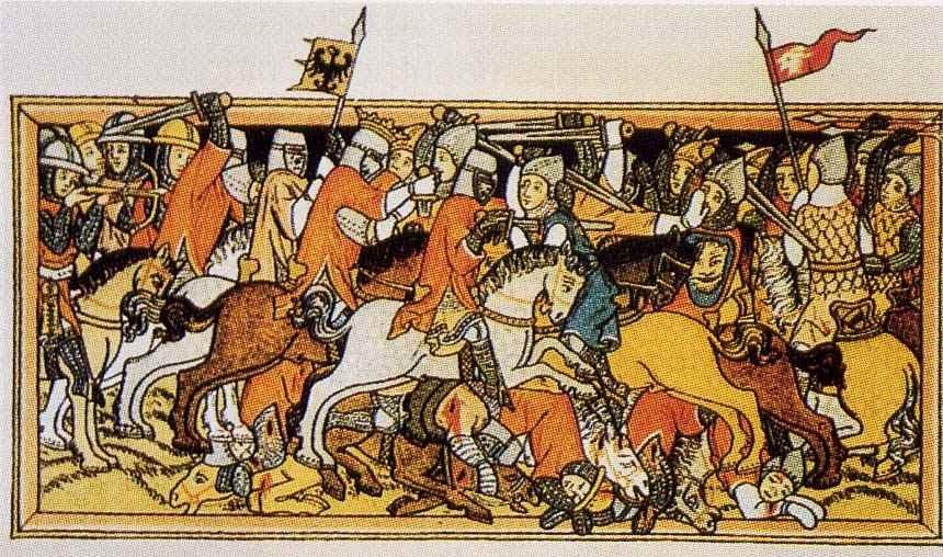 Schlacht bei Mühldorf, 1322: Konrad v. Schlüsselberg mit der Reichssturmfahne und seinen Dienstleuten