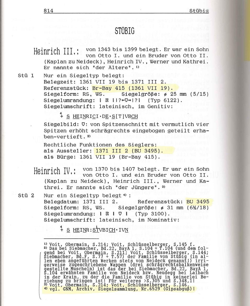 """W. Vahl, Fränkische Rittersiegel: Kapitelanfang zum Dienstmannengeschlecht der """"Stübig"""""""