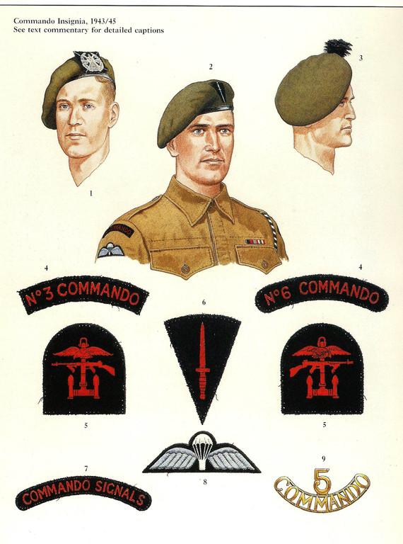 Verschiedene Commando-Insignia: u.a. Armabzeichen des Combined Operations Command und Fallschirmspringer-Aufnäher