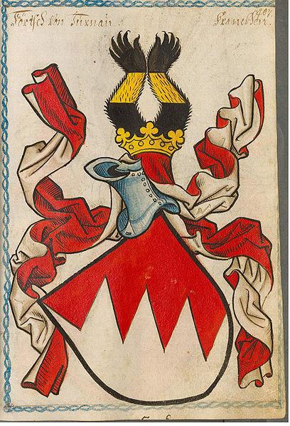"""Wappendarstellung der Förtsch mit den charakteristischen """"fränkischen Farben""""  Rot auf Silber bzw. auf Weiß"""