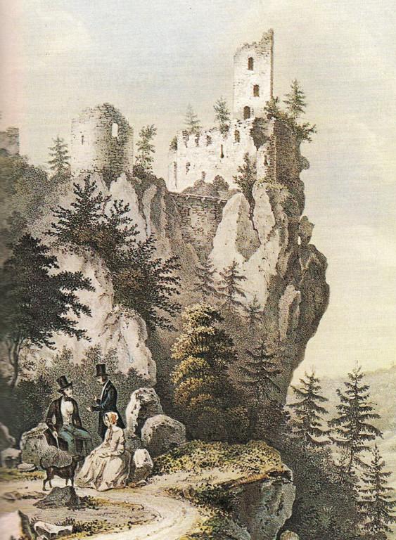 Lithografie von Theodor Rotbart, ca. 1830: Hauptburg mit Gebäuderesten von Osten