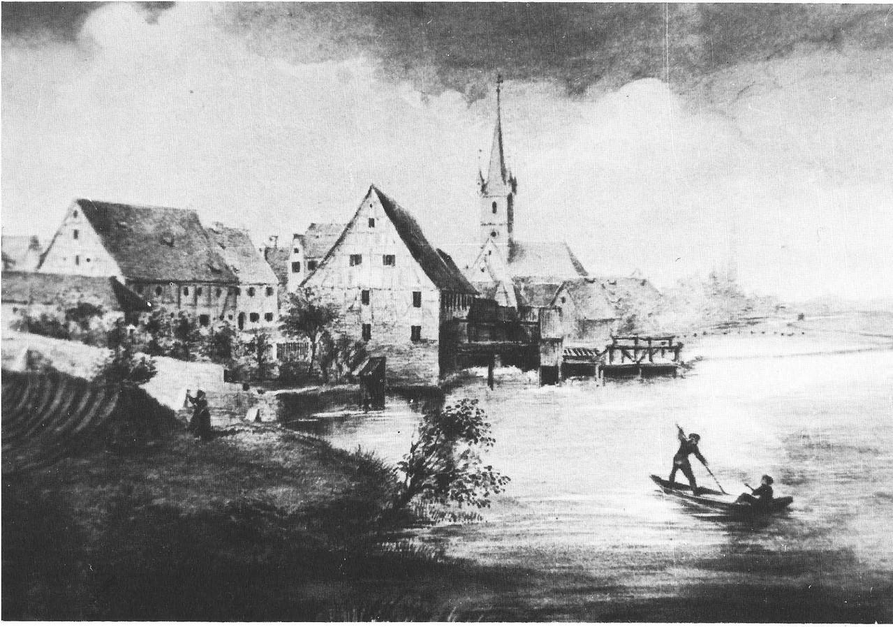 Bruck von Norden. Die 1864 abgebrannte Mühle ist noch zu sehen. So wie die beiden Fischer im Kahn stakten mein Freund Karl und ich oberhalb des Wehrs herum.