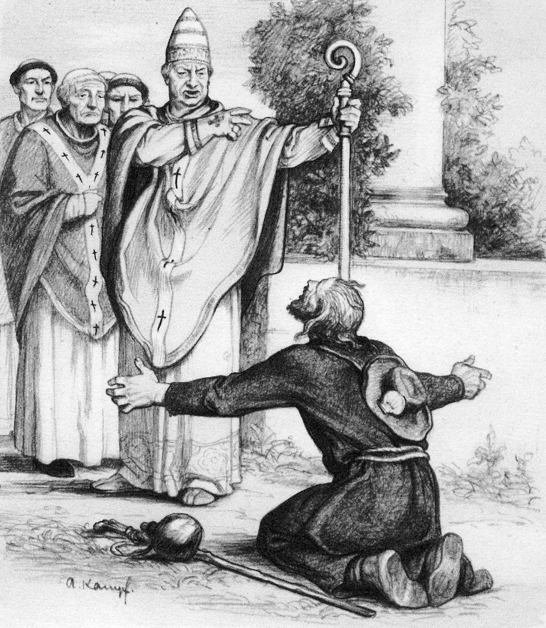 So wie dieser Pilger vor dem Bischof kniete ich vor den Reitern und flehte um mein Leben...