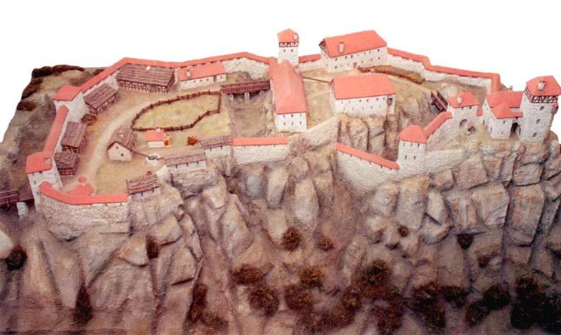 Burgmodell, Draufsicht von Osten, rechts die Hauptburg