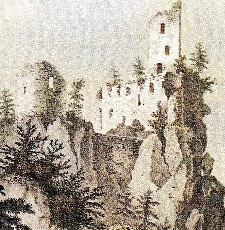 Hauptburg von Osten, Zustand um 1830 (Lithografie von Rotbart)