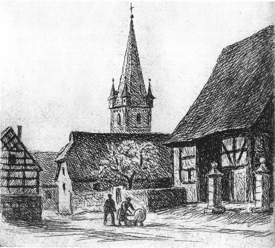 Gesamtprospekt in der Friedhofstraße. Links der Pfarr-Kirschgarten. Zeichnung Prof. Bina