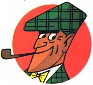 """Onkel Alfred, genannt Georg, ähnelte der Comic-Strip-Detektivfigur """"Nick Knatterton"""". Zeichner Manfred Schmidt, Fortsetzungsgeschichten veröffentlicht in der Illustrierten """"Quick"""""""