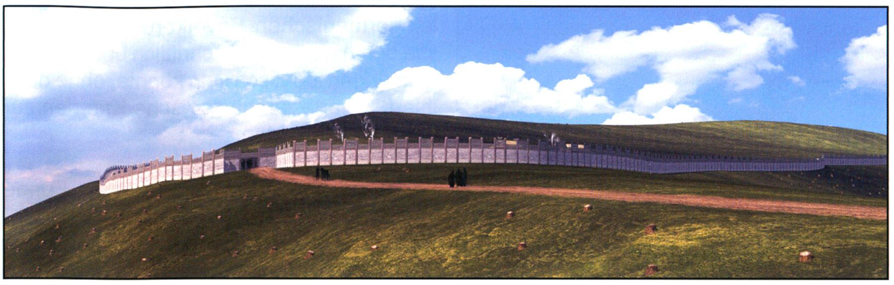 Virtuelle Rekonstruktion der Befestigungsmauer des germanischen Fürstensitzes auf dem Berg um das Jahr 400 n.Chr.