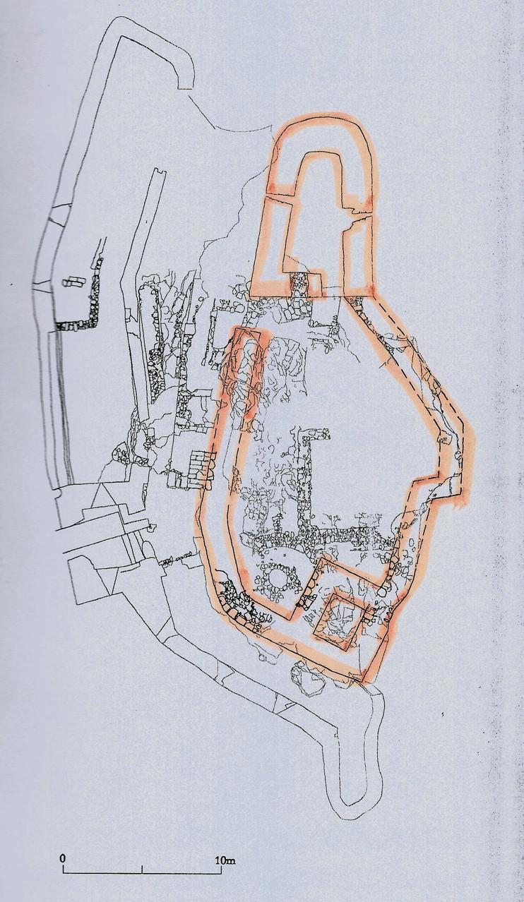 """Grundriss der Kleinburg namens """"Neideck"""", die gegen Ende des 12. Jahrhunderts wohl von einem """"Stübig"""" erbaut wurde, der sich dann nach seiner Burg nannte."""