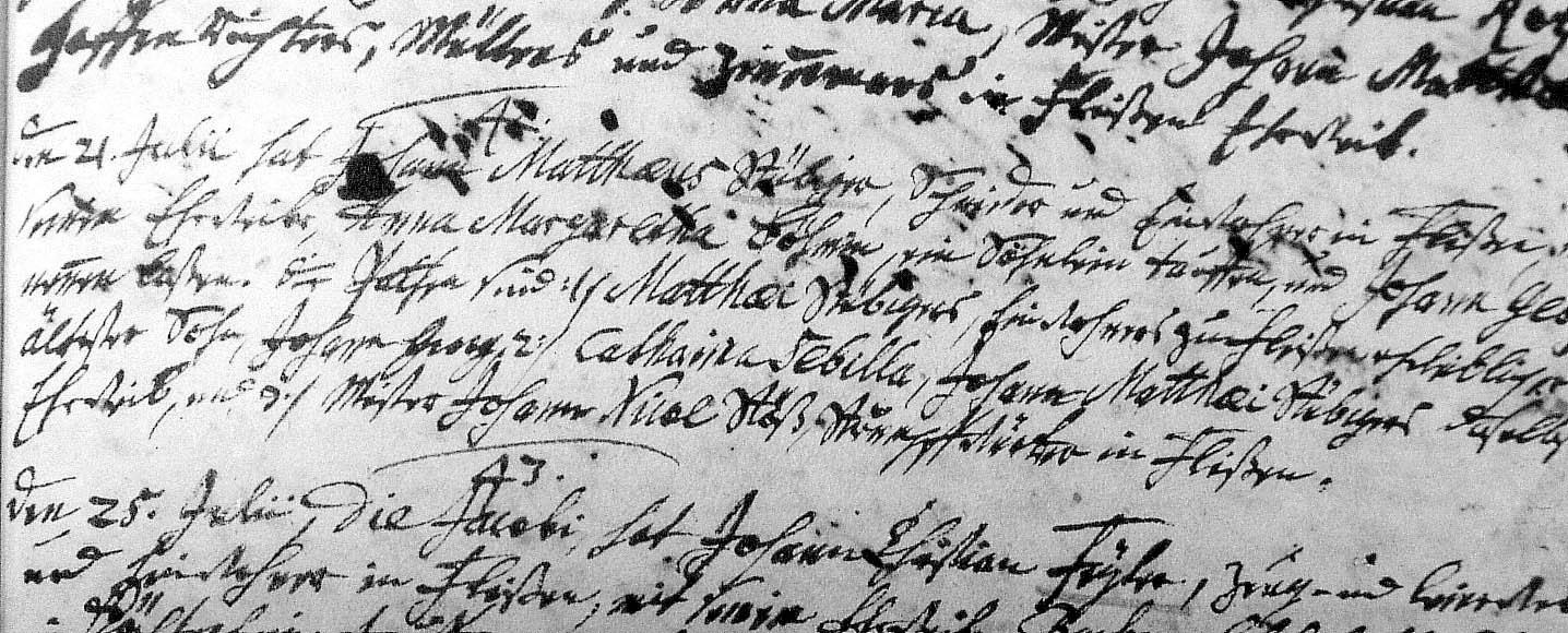 Schriftmuster-Beispiel für einen Kirchenbucheintrag