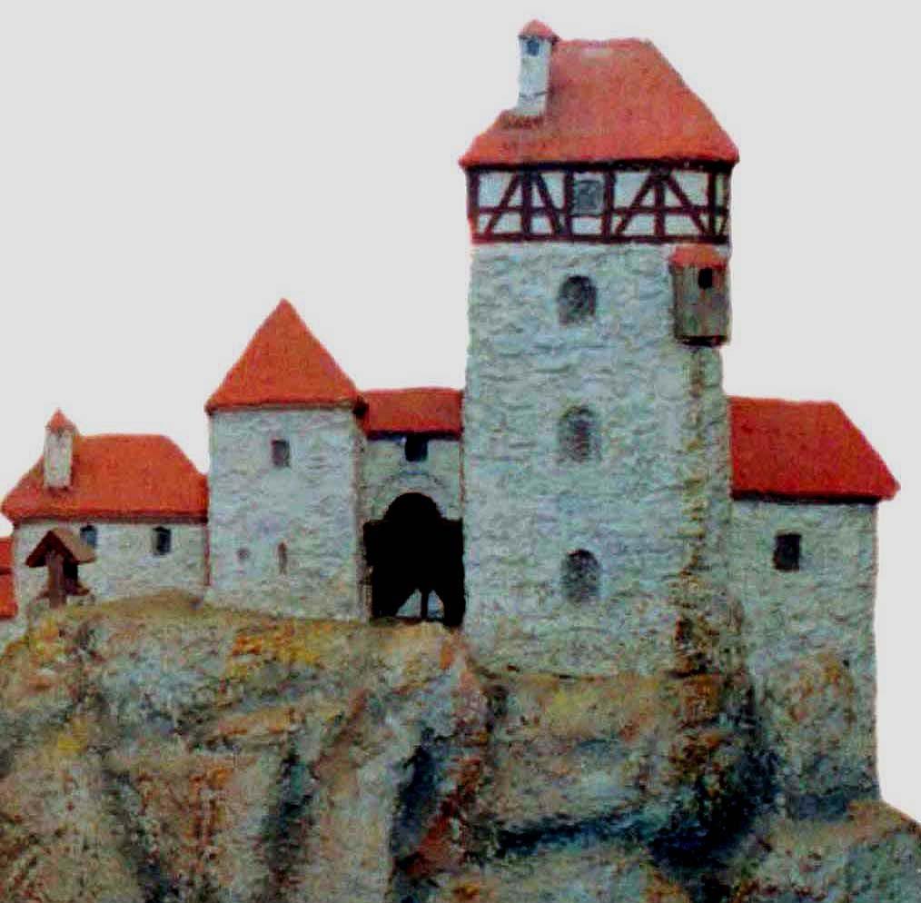 Modell-Teilansicht der Burg Neideck mit dem Baustatus um 1480: hier ist der Wohnturm als Komplettbau mit Fachwerk-Obergeschoß und Dach rekonstruiert