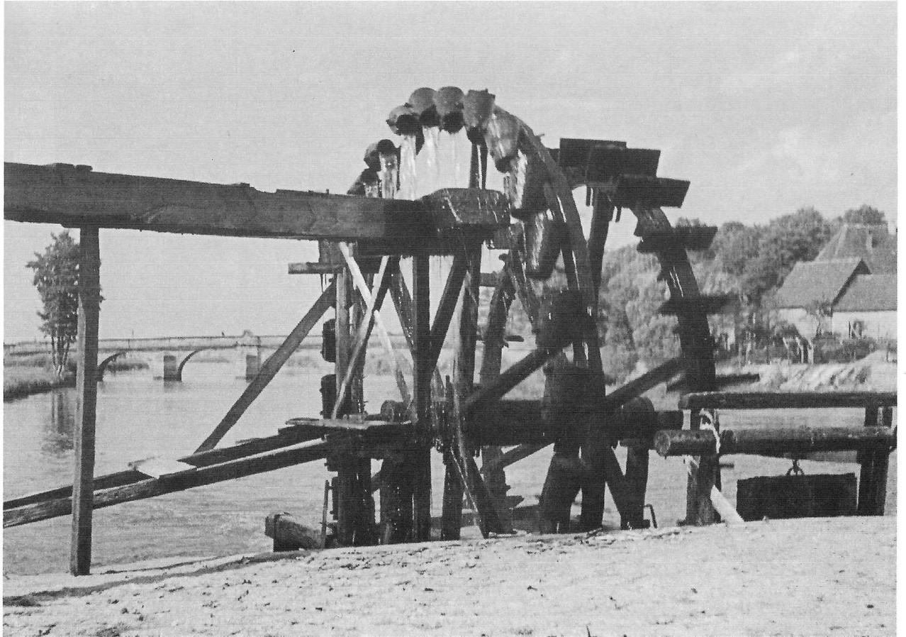 Wasser-Schöpfrad zur Bewässerung der Regnitzwiesen.
