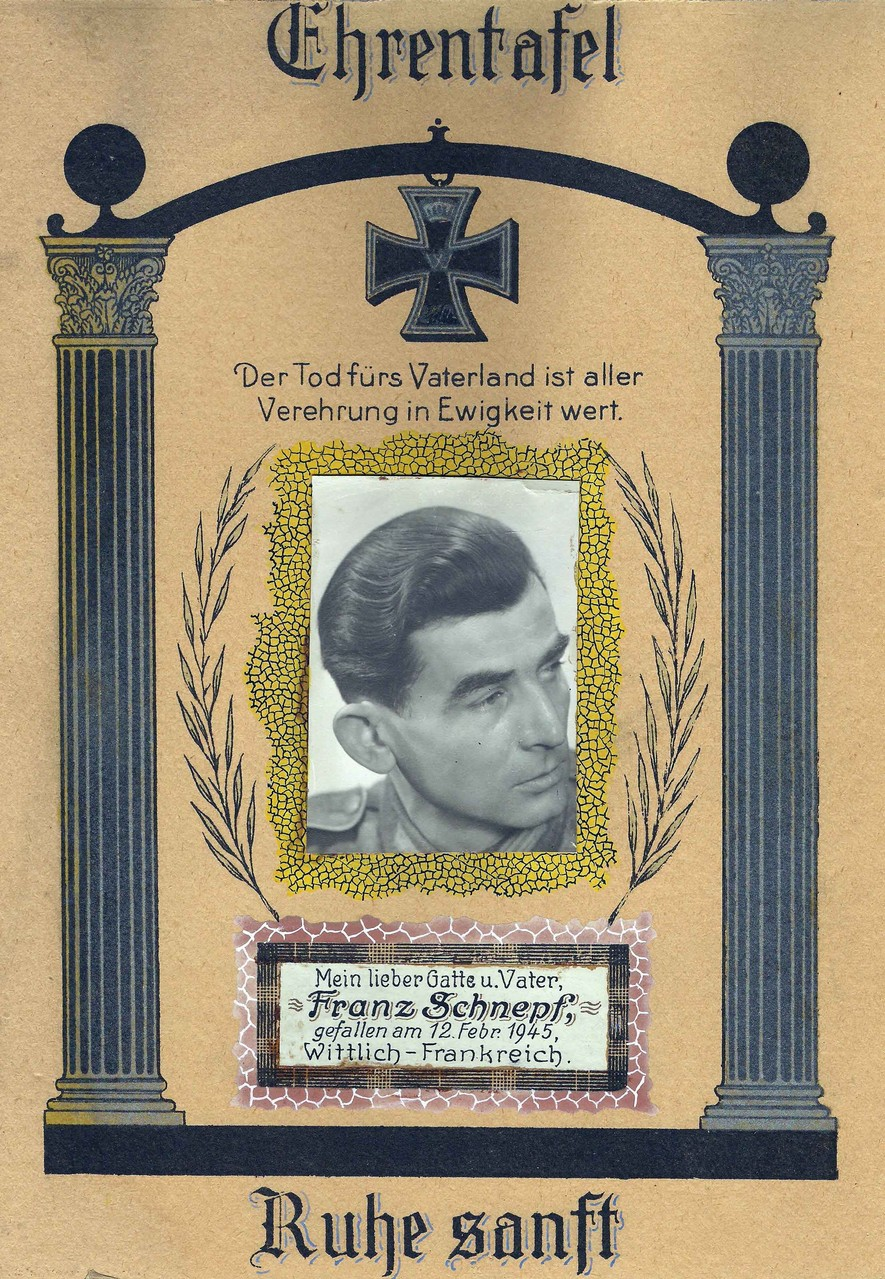 Franz Schnepf wird noch wenige Monate vor Kriegsende von hinten erschossen...