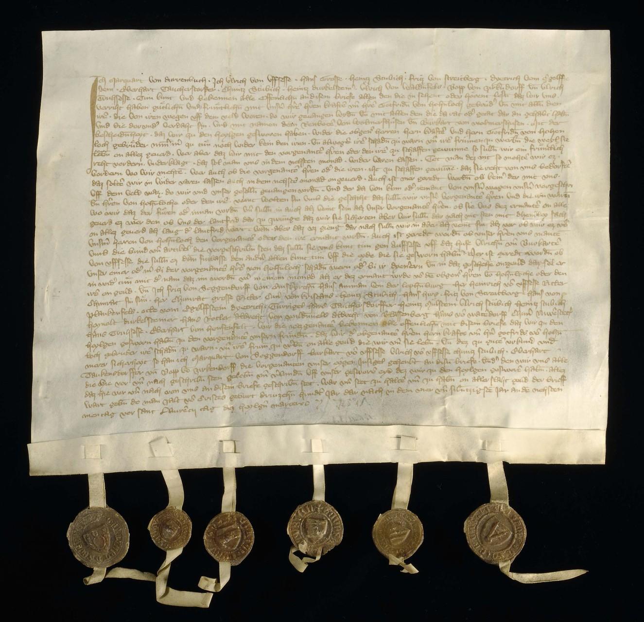 Beispiel für eine von einem Kanzleischreiber ausgestellte und gesiegelte Urkunde aus dem Spätmittelalter.