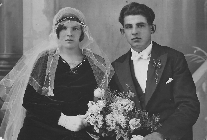Hochzeitsbild von Franz und Elise Schnepf, geborene Geißer
