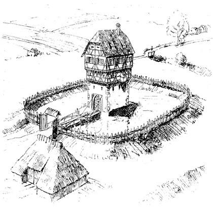 Eine typische fränkische Turmburg des Niederadels im Spätmittelalter: das so genannte Weiherhaus. Zeichnung Ferdinand Leja