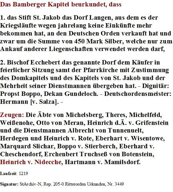 """Abschrift einer der Urkunden von 1219: Erstnennung """"Heinrich de Nidecche"""", Zeuge für Bischof Ekbert von Andechs"""