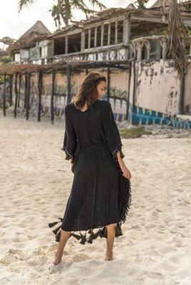 Miss June Kaftan Belize, black, one size mit Gürtel 100% Cotton 162€ -30%