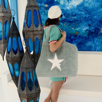 Beachbag mint, Stern white, Höhe: 50 cm, Breite: 64 cm, Höhe: 70 cm mit Träger Waschbar bei 30°C, 119€