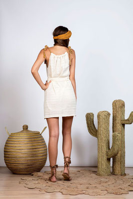 SUNDRESS, Dress Louise off white mit Bindegürtel in Size xs/s und m/l 119€ -30%
