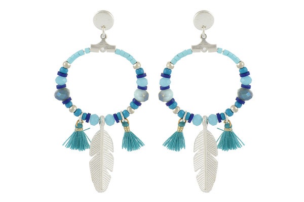 "Ohrringe "" Funky Feather"" türkis 24€ -20%"