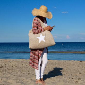 Beachbag taupe, Stern white, Höhe: 50 cm, Breite: 64 cm, Höhe: 70 cm mit Träger Waschbar bei 30°C, 119€