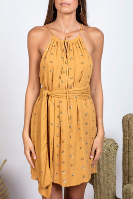 SUNDRESS, Dress Frida, dark sand/gold jasmine mit Bindegürtel in Size xs/s und M/L 164€ -30%