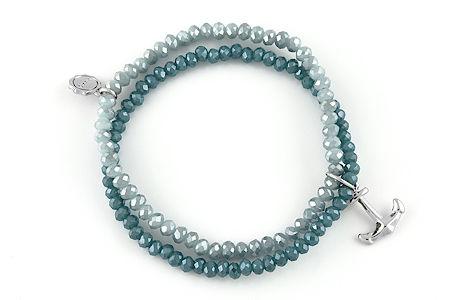"Armband ""Sparkling Anchor"" blue/turquoise 16€"