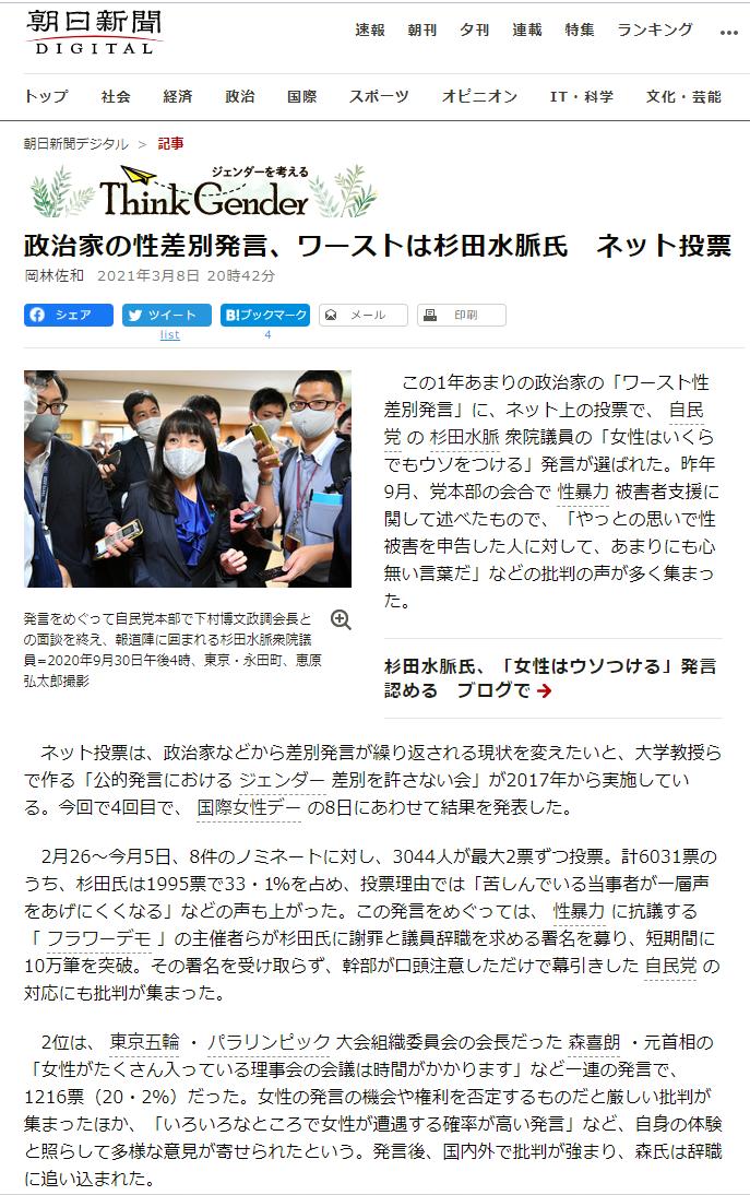 朝日新聞「政治家の性差別発言、ワーストは杉田水脈氏 ネット投票」