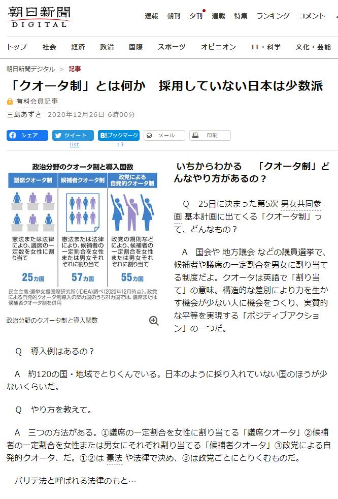 朝日新聞「「クオータ制」とは何か 採用していない日本は少数派」