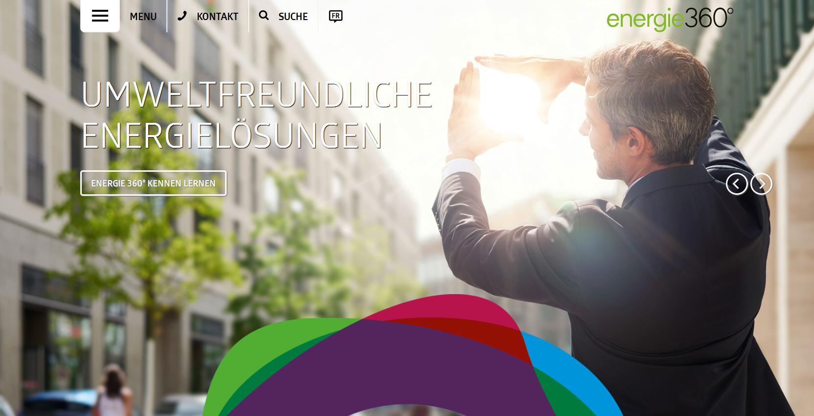 Umsetzungsbeispiel auf der Webseite von Energie 360°.