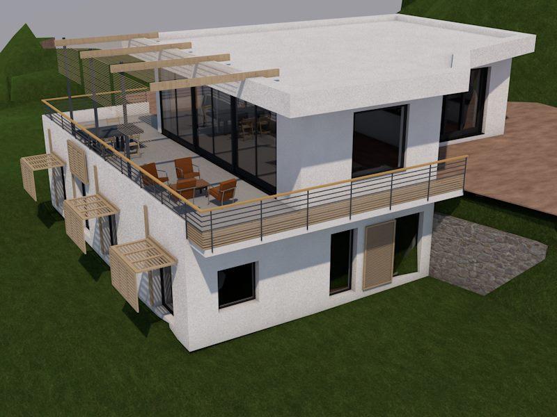 maison contemporaine Villa moderne nice cote d'azur image de synthese 3D modelisation
