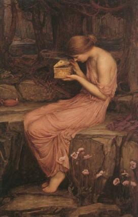 「黄金の箱を開けるプシュケ」 ジョン・ウィリアム・ウォーターハウス