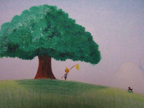 大自然に小さく人物を描くのが好きです。幼少期の純真な気持ちをいつまでも忘れたくないな~