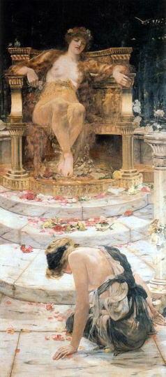 「Psyche at the Throne of Venus(ヴィーナスの王座の前のプシュケ)」 エドワード・マシュー・ヘイル
