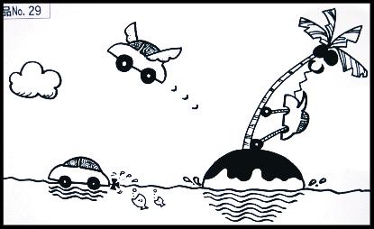 企業募集:未来の車をイメージしたヒトコマ漫画で入選を頂いたイラストです。光栄です!