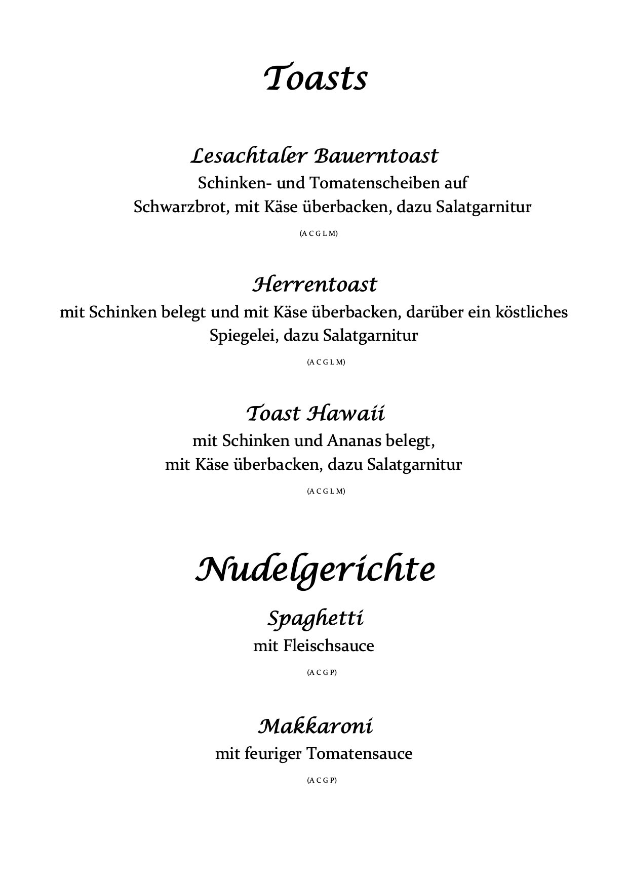 Speisekarte Mascha Wirt Toast Nudelgerichte