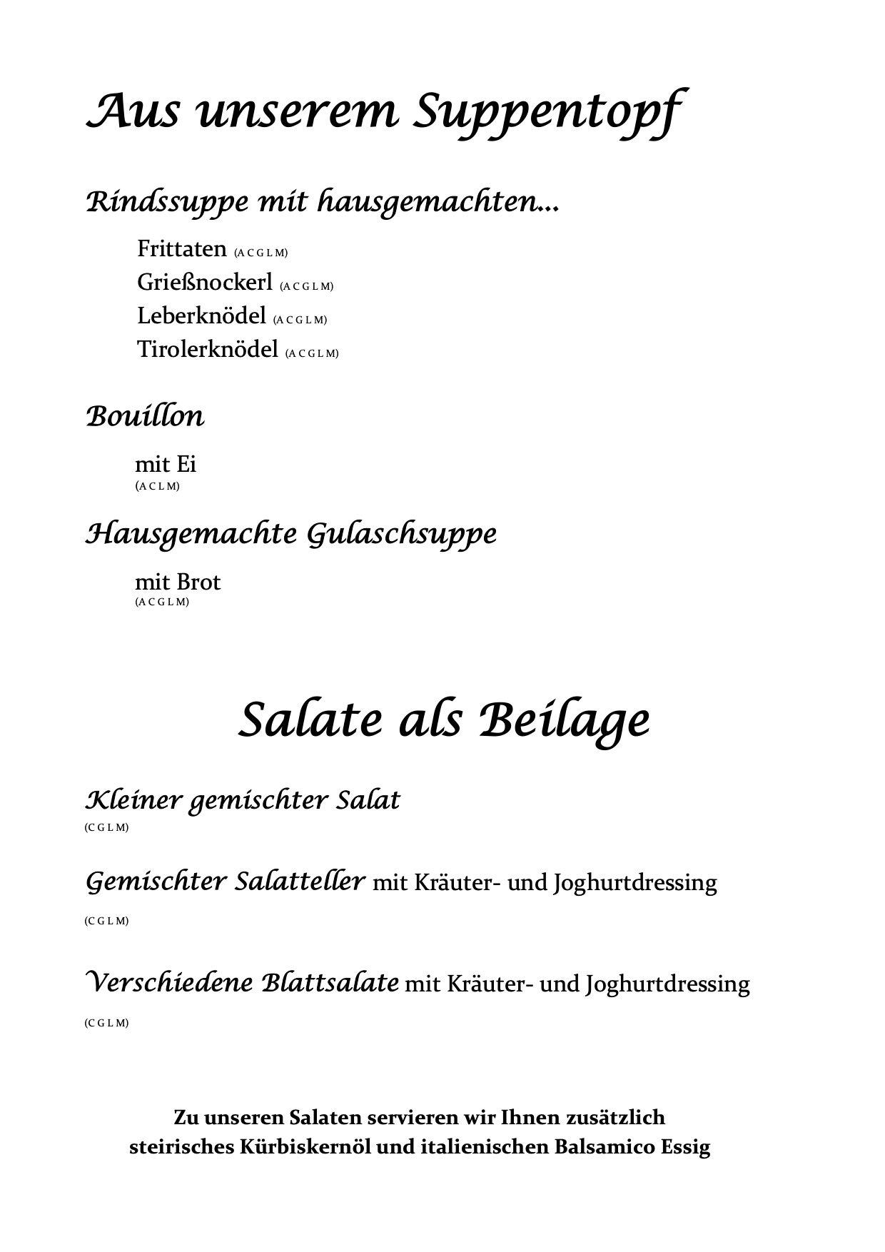 Speisekarte Mascha Wirt Suppen Salate
