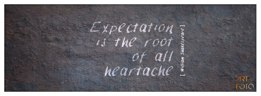 Expectation is the root of all heartache.  [ William Shakespeare ]