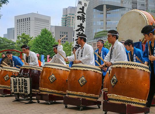 日比谷大江戸まつり 2019, お祭りパレード, 和太鼓, 組太鼓演奏, 清瀬上和太鼓保存会