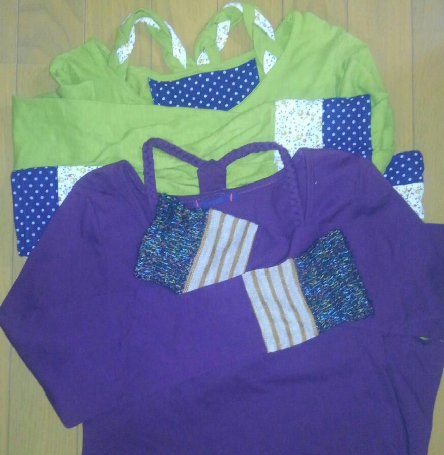 編み襟付の長T2着と、その他に日用雑貨や子供の服などを買いました✨