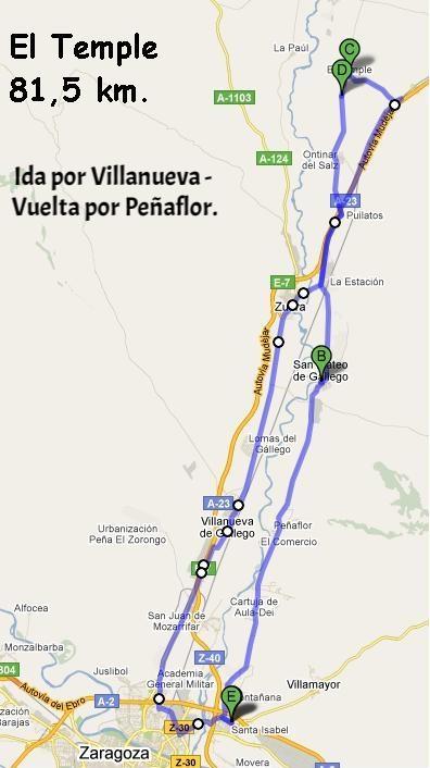 """9 de marzo - Ruta Corta """"El Temple"""". -Ruta Larga """"Gurrea de Gállego""""."""