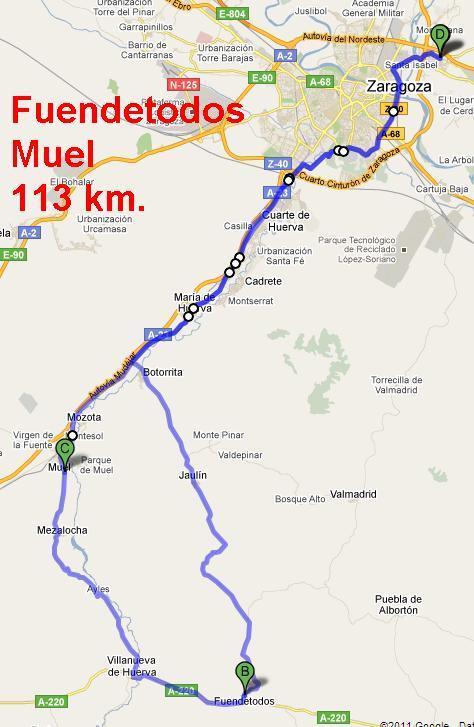 """23 de marzo - Ruta Corta """"Fuendetodos"""" - Ruta Larga """"Muel - Fuendetodos""""."""