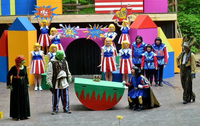 Prinzessin Fiona (Claudia Schickler), Shrek (Heiko Raiser) und der Esel (Thomas Kahlert) haben von Lord Farquaad (Holger Schlosser) die Nase voll | Foto: M. Niethammer